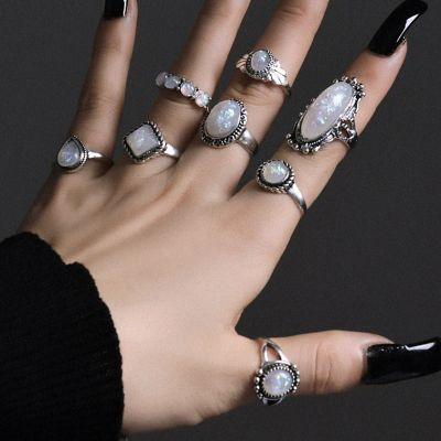 Alloy Fashion Midi Ring Punk Geometric Rings 8 PCsSet