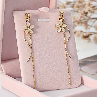 Alloy Flower Linear Earrings No-piercing Long Earring for Woman
