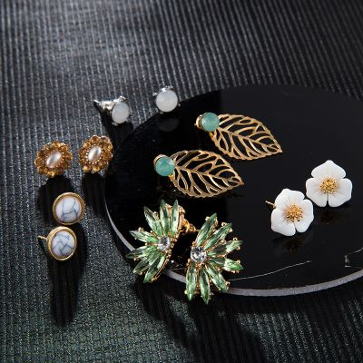 Alloy Flower Rhinestone Stud Earring Bohemia Earring Set 6 Pcs