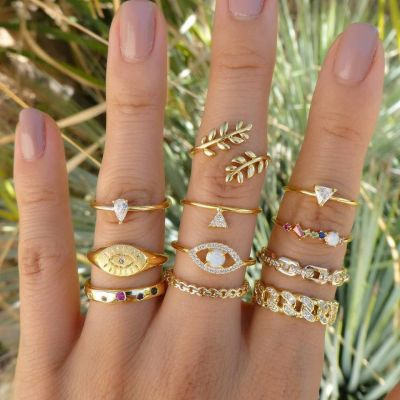 Alloy Leaf Rhinestones Eyes Midi Rings 11 PCsSet Retro Ring