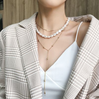 Alloy Multilayer Pearl Choker Necklace Sexy Baroque Necklace