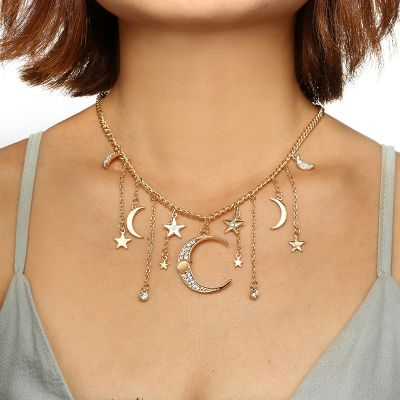 Alloy Multiple Stars and Moon Pendants Necklace
