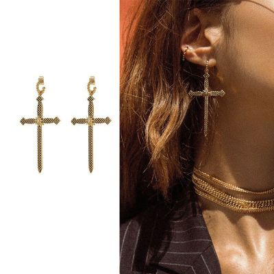 Alloy Stylish Long Cross Drop Earrings Street Style Dangle Earring
