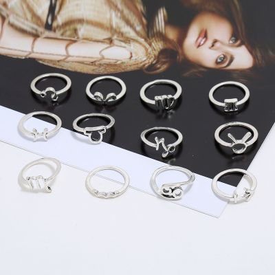 Alloy Vintage Astro Midi Rings Woman Ring Set 12 Pcs