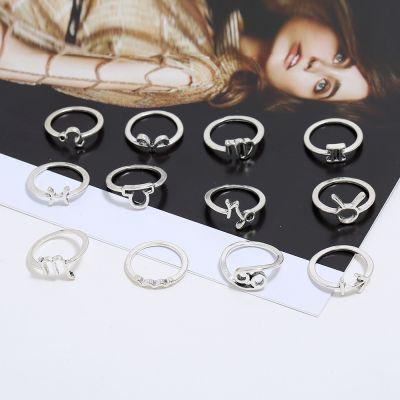 Alloy Vintage Astro Midi Rings Woman Ring Set 12 Pcs
