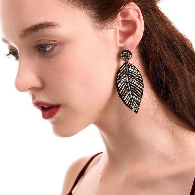 Beaded Crystal Tree Drop Earring Boho Dangle Earrings