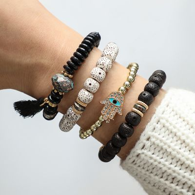 Beaded Eyes Tassel Bracelets Boho Bangle Bracelet for Beach