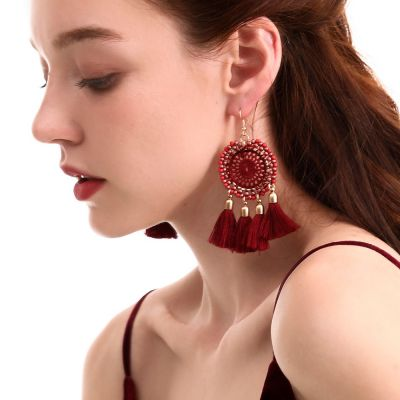 Beaded Tassel Bohemia Dangle Earrings Dream Catcher Earrings