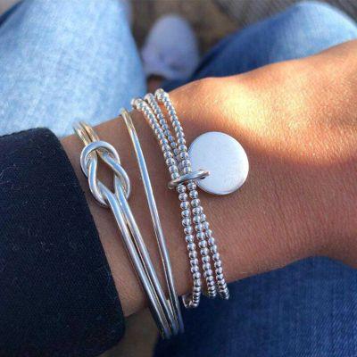 Beads Bohemian Chain Bracelet Coin Charm Bracelet 3 PCsSet