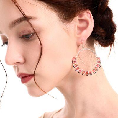 Beads Crystal Handmade Big Hoop Earring for Beach