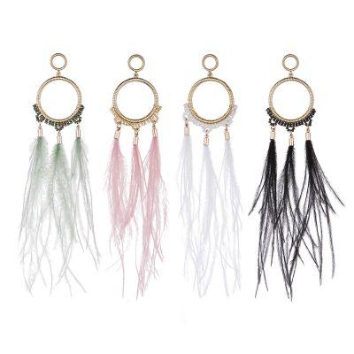 Beads Ostrich Feather Drop Earring Boho Long Dangle Earrings
