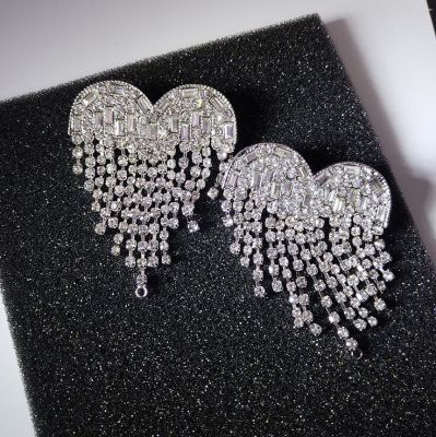 Big Heart Tassel Stud Earring Party Statement Earring