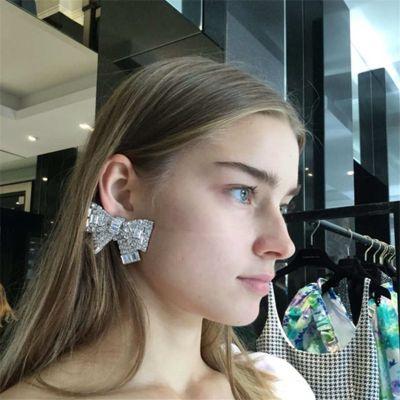 Big Rhinestones Bowknot Statement Earring S925 Pierce Bridal Stud