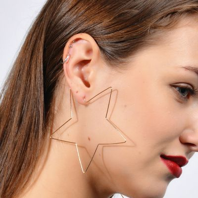Big Star Hoop Earrings Office Statement Earrings