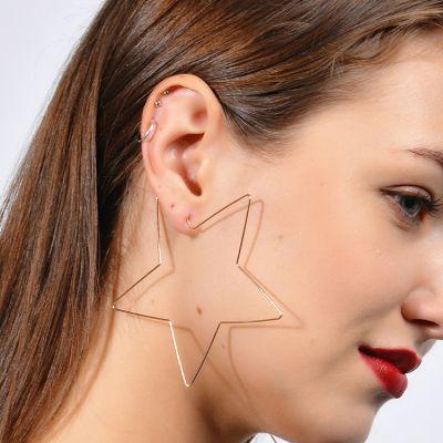 Big Star Hoop Earrings Office Statement Earrings