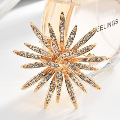 Blossom Sunflower Rhinestones Bridal Brooches Pin