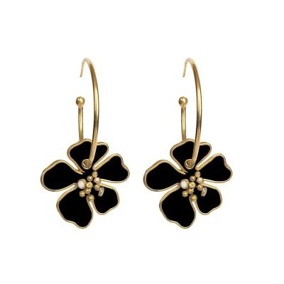 Bohemia Alloy Flower Drop Earrings Dance Hoop Earrings