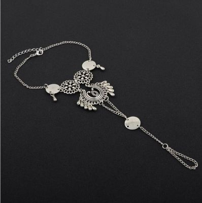 Bohemia Ankle Bracelet Ring Hollow-out Flower Bracelets in Silver