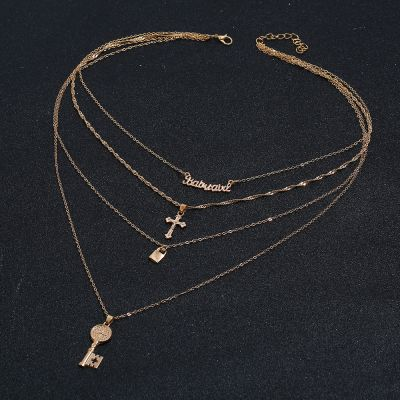 Bohemia Cross Key Pendants Multilayer Summer Necklace in Gold