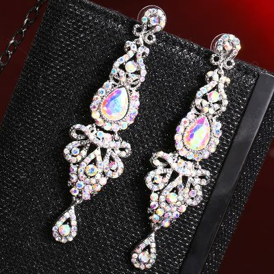 Bohemia Crystal Drop Earring Chandelier Earrings for Wedding