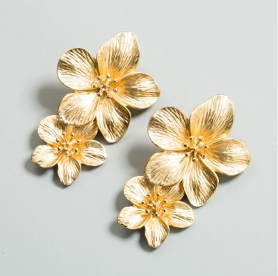 Bohemia Double Flower Dangle Earrings for Beach