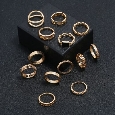 Bohemia Layered Midi Rings Hollow-out Stars Gold Ring Set 13-Pack