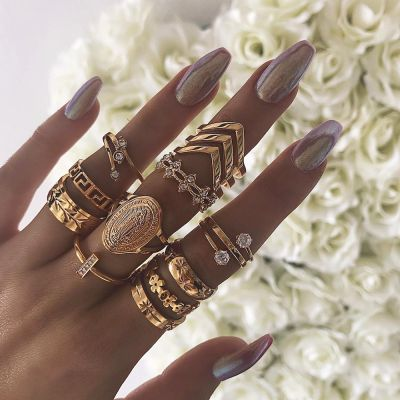 Bohemia Madonna Ring Geometric Midi Rings Layering Ring Set 13 Pcs