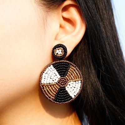 Bohemia Multicolor Beads Handmade Hoop Earring