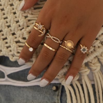 Bohemia Multilayer Rings Rhinestone Star&Moon Midi Ring
