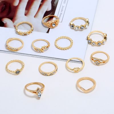 Bohemia Rhinestones Heart Midi Rings 14-Pack Layered Ring Set