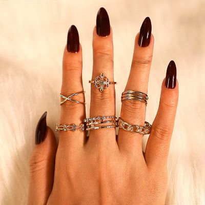 Bohemia Stackable Rings Rhinestones Midi Ring Set 8 Pack