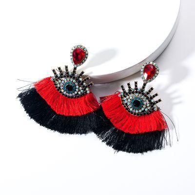 Bohemian Devil's Eye Tassel Earrings