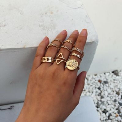 Boho Bee Triangle Midi Rings Layer Ring Set 9 PC