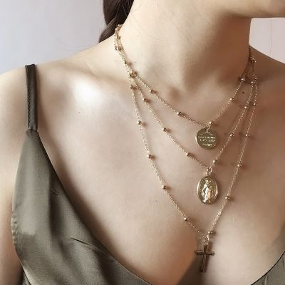Boho Cross Pendants Multilayer Necklace for Beach