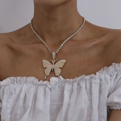 Boho Crystal Big Butterfly Pendants Statement Necklace