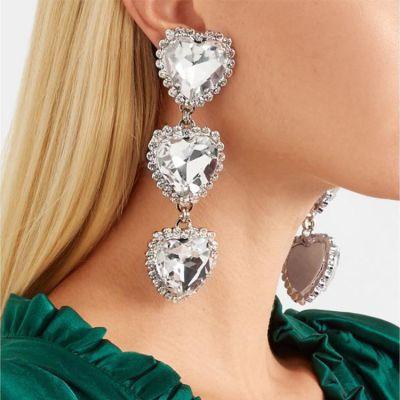 Boho Crystal Hearts Drop Dangle Earrings Dance Statement Earring