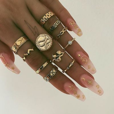 Boho Midi Ring Set Snake-Embossed Rhinestone Layering Rings 11 Pack