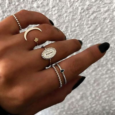 Boho Moon&Star Adjustable Ring Midi Stackable Ring Set 5 PC