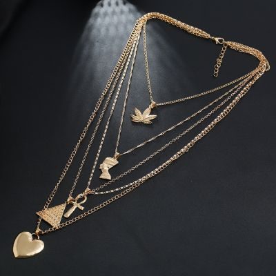 Boho Multilayer Gold Chain Necklace Pyramid Heart Statement Necklace