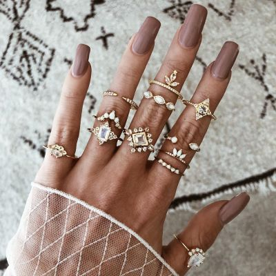 Boho Rhinestones Crystal Midi Rings Layering Ring Set 12 Pack