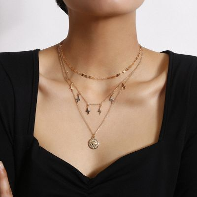Boho Sequins Flash Eye Pendants Layer Necklace Chain Set