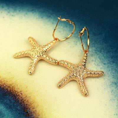 Boho Small Starfish Pendant Hoop Earring for Summer