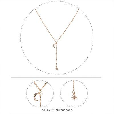 Boho Star Moon Pendants Lariat Necklace Bikini Necklace Chain