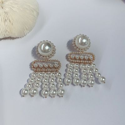 Bridal Multiple Pearls Dangle Earrings Statement Earring