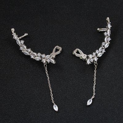 Bridal Rhinestones Ear Cuff No Piercing Ear Wrap with Teardrop