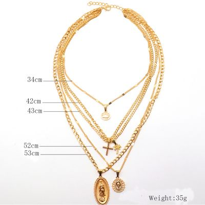 Chain Cross Madonna Pendant Necklace Sets in Gold
