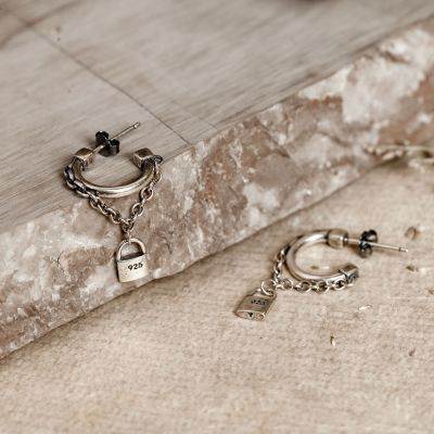 Chain Lock Punk Sterling Silver Hoop Earrings