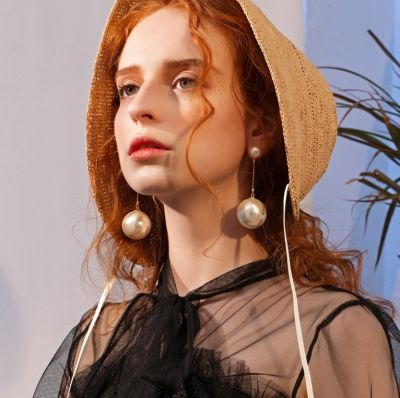 Chic Double Pearl Dangle Earrings Woman Statement Earrings