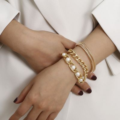 Chic Pearls Bracelet Chains Layer Chunky Bracelet Set