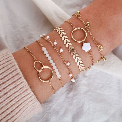 Circle Bracelet Chain Leaf Friendship Bracelets 6 Pack